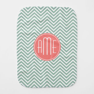 Mint and Coral Chevrons Custom Monogram Burp Cloth