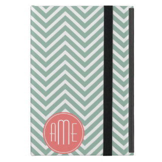 Mint and Coral Chevrons Custom Monogram Cover For iPad Mini