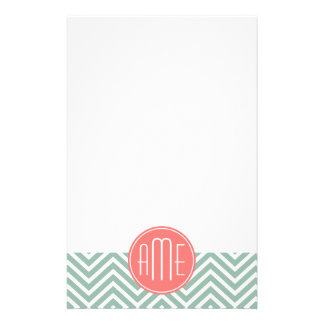 Mint and Coral Chevrons Custom Monogram Customized Stationery
