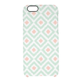 Mint and Coral Diamonds Ikat Pattern Clear iPhone 6/6S Case