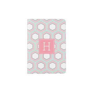 Mint and Coral Honeycomb Pattern Monogram Passport Holder
