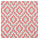Mint and Coral Ikat Moroccan Fabric
