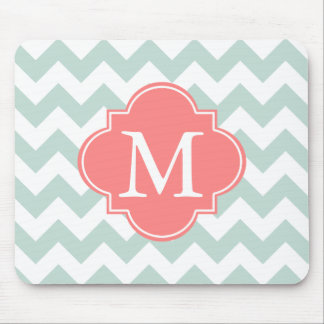 Mint and Coral Modern Chevron Custom Monogram Mouse Mat