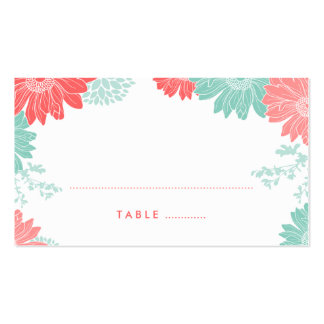 Mint and Coral Modern Floral Wedding Escort Cards Pack Of Standard Business Cards