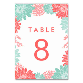 Mint and Coral Modern Floral Wedding Table Number Table Card