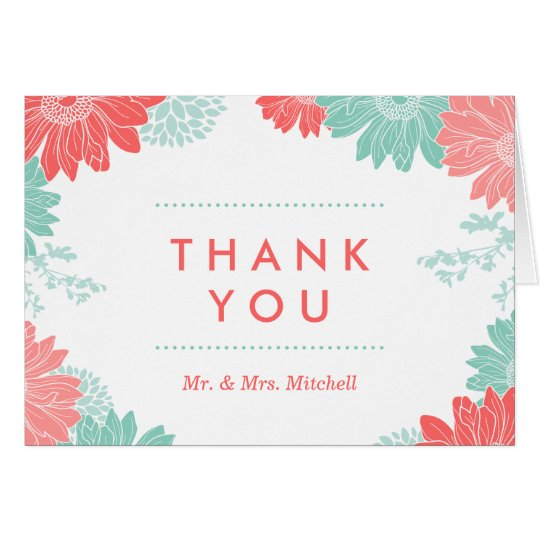 Mint and Coral Modern Floral Wedding Thank You Card