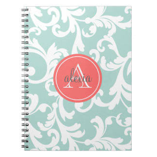 Mint and Coral Monogrammed Damask Print Notebooks
