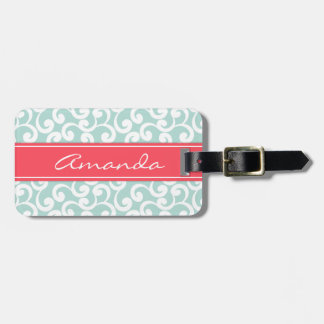 Mint and Coral Monogrammed Elements Print Luggage Tag
