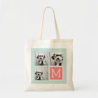 Mint and Coral Photo Collage Tote Bag