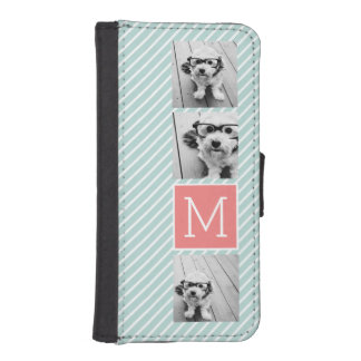 Mint and Coral Photo Collage Custom Monogram iPhone SE/5/5s Wallet Case