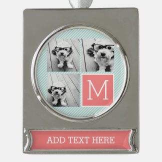 Mint and Coral Photo Collage Custom Monogram Silver Plated Banner Ornament