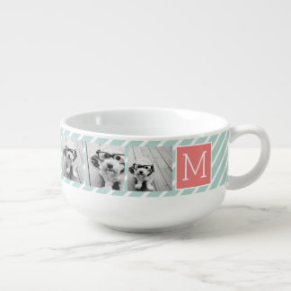 Mint and Coral Photo Collage Custom Monogram Soup Mug