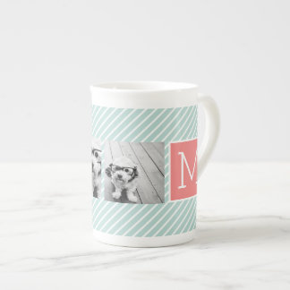 Mint and Coral Photo Collage Custom Monogram Tea Cup
