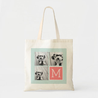 Mint and Coral Photo Collage Custom Monogram Tote Bag