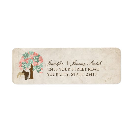 Mint and Coral Pink Spring Horses Wedding Return Address Label