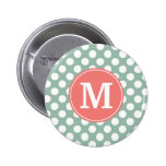 Mint and Coral Polka Dots with Custom Monogram