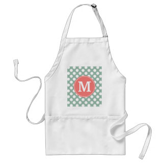 Mint and Coral Polka Dots with Custom Monogram Standard Apron