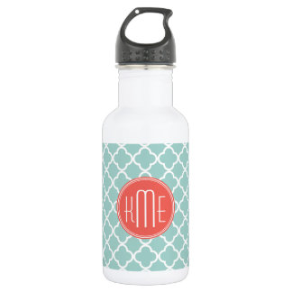 Mint and Coral Quatrefoil with Custom Monogram 532 Ml Water Bottle