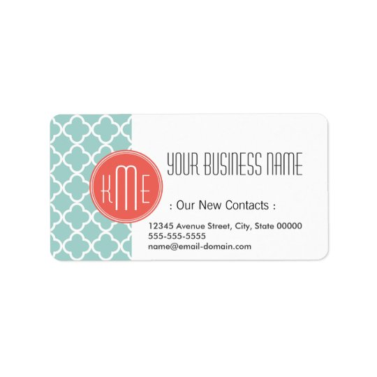 Mint and Coral Quatrefoil with Custom Monogram Address Label