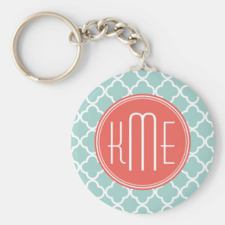 Mint and Coral Quatrefoil with Custom Monogram Basic Round Button Key Ring