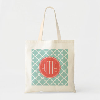 Mint and Coral Quatrefoil with Custom Monogram Budget Tote Bag