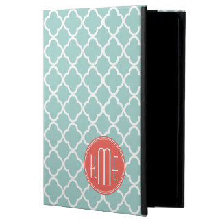 Mint and Coral Quatrefoil with Custom Monogram Case For iPad Air