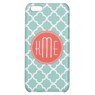 Mint and Coral Quatrefoil with Custom Monogram Case For iPhone 5C