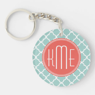 Mint and Coral Quatrefoil with Custom Monogram Double-Sided Round Acrylic Key Ring