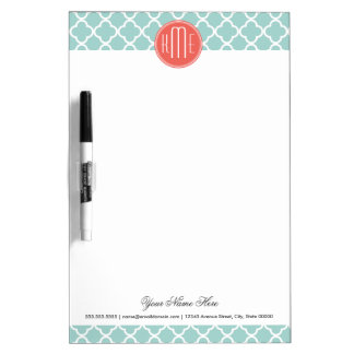 Mint and Coral Quatrefoil with Custom Monogram Dry-Erase Whiteboard