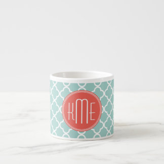 Mint and Coral Quatrefoil with Custom Monogram Espresso Cup