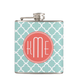Mint and Coral Quatrefoil with Custom Monogram Hip Flask