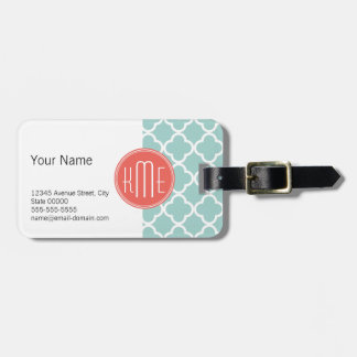 Mint and Coral Quatrefoil with Custom Monogram Luggage Tag