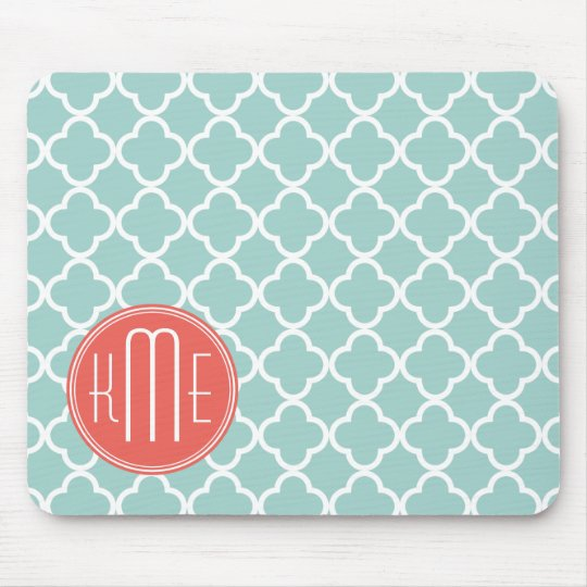 Mint and Coral Quatrefoil with Custom Monogram Mouse