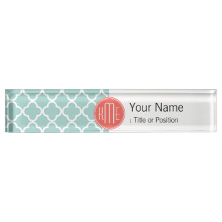 Mint and Coral Quatrefoil with Custom Monogram Nameplate