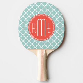 Mint and Coral Quatrefoil with Custom Monogram Ping Pong Paddle