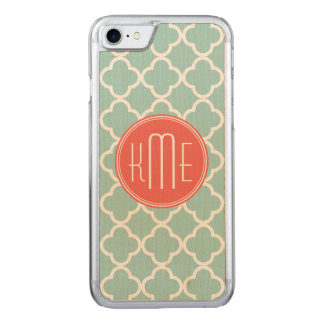 Mint and Coral Quatrefoil with Monogram Carved iPhone 8/7 Case