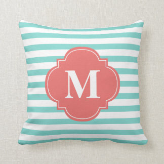 Mint and Coral Stripes Monogram Throw Pillow