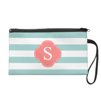 Mint and Coral Stripes Monogram Wristlet