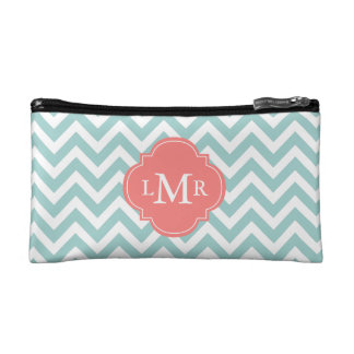 Mint and Coral Zigzags Monogrammed Cosmetics Bags