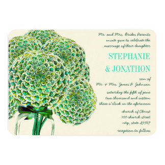 Mint and Emerald Zinnia Mason Jar Wedding Invites