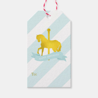 Mint and Faux Gold Foil Carousel Horse Gift Tags
