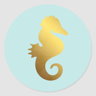 Mint and Faux Gold Foil Seahorse Sticker
