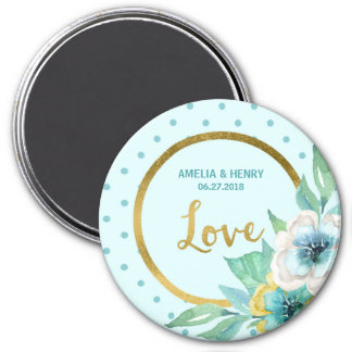 Mint and Faux Gold, Watercolor Floral Wedding Love 7.5 Cm Round Magnet