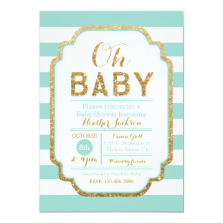Mint And Gold Baby Shower Invitation, Baby Girl Card