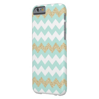 Mint and Gold Chevron Stripe Pattern Barely There iPhone 6 Case