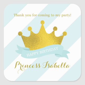Mint and Gold Crown Princess Birthday Square Sticker