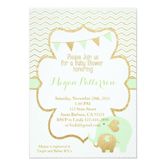 Mint and Gold Elephant Baby Shower Invitation