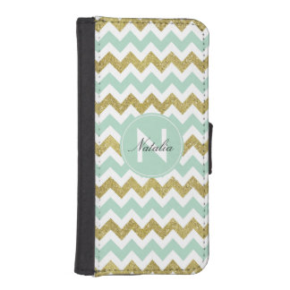Mint and Gold Faux Glitter Chevron Monogram iPhone SE/5/5s Wallet Case