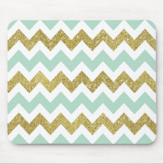 Mint and Gold Faux Glitter Chevron Mouse Mat