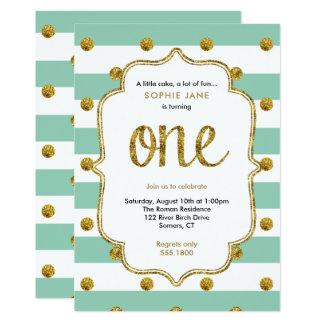 Mint and Gold First Birthday Glitter Invitation